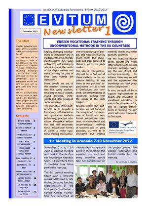 1st Newsletter of LEONARDO Partnership EVTUM 2012-2014
