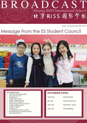 Beijing BISS International School Broadcast - Issue 14 November 29th 2013