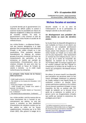 InFOéco n°9:  Niches fiscales et sociales  - 15 septembre 2010