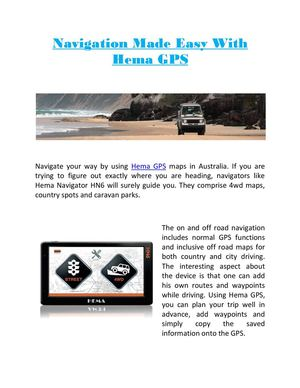 Navigation Made Easy With Hema GPS