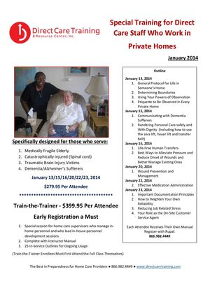 TRAINING OUTLINE FOR IN-HOME PERSONNEL JANUARY 2014