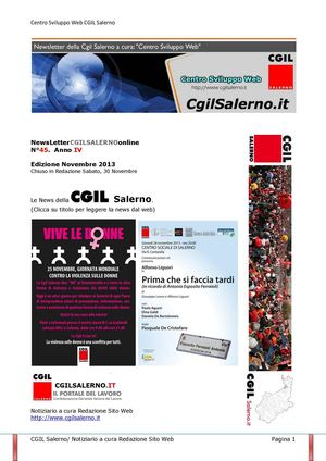 NewsLetter Novembre 2013 CGIL Salerno