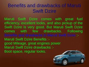 Benefits and drawbacks of Maruti Swift Dzire