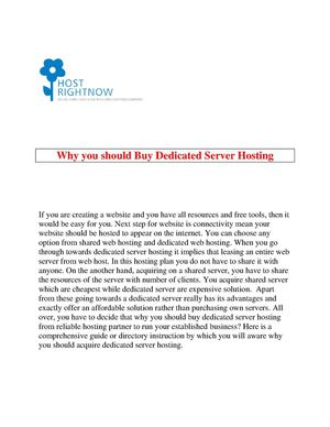 Why you should Buy Dedicated Server Hosting