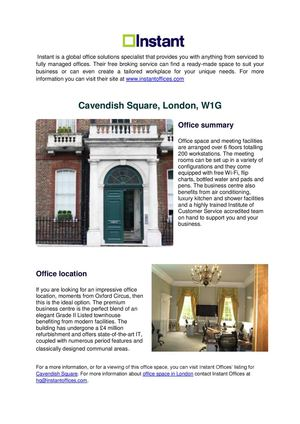 Featured Office Listing - Cavendish Square