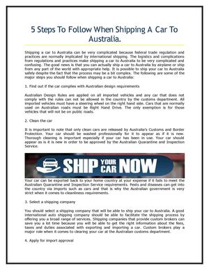 5 Steps To Follow When Shipping A Car To Australia.