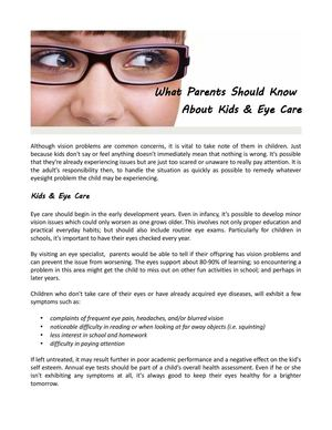 4ab6c3ae320 Calaméo - What Parents Should Know About Kids   Eye Care