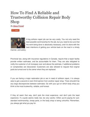 How To Find A Reliable and  Trustworthy Collision Repair Body  Shop