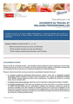 Calameo Ft 08 Accidents De Travail Et Maladies Professionnelles