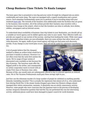 Calaméo - Cheap Business Class Tickets To Kuala Lumpur