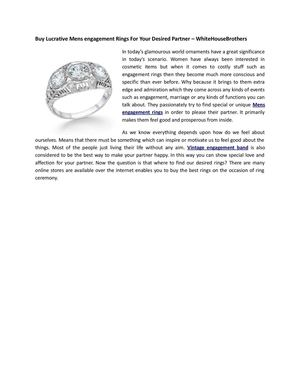 Buy Lucrative Mens engagement Rings For Your Desired Partner – WhiteHouseBrothers
