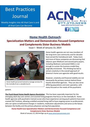 Best Practices Journal 01-13-2014 - Specialization Matters in Home Health Care