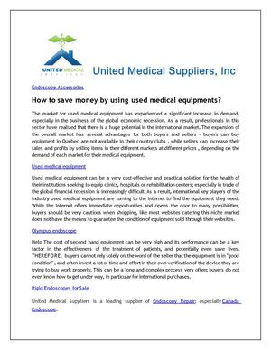 How to save money by using used medical equipments?