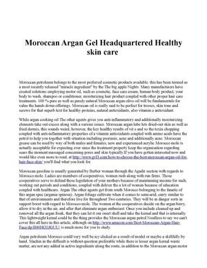 Moroccan Argan Gel Headquartered Healthy skin care