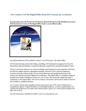 New version 5.1 of The Digital Office from EON Systems Inc. is released.