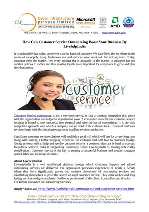 How Can Customer Service Outsourcing Boost Your Business By LivehelpIndia