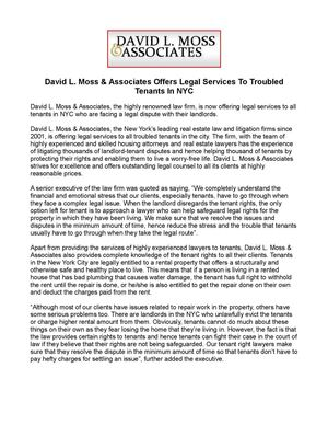 David L. Moss & Associates Offers Legal Services To Troubled Tenants In NYC