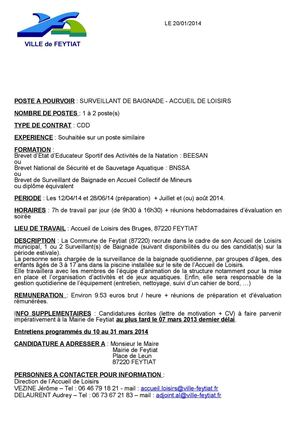 Calaméo Offre D Emploi Surveillant De Baignade útú 2014