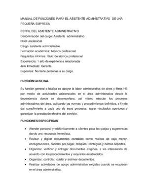 Calam o manual de funciones del asistente administrativo for Manual de operaciones de un restaurante ejemplo