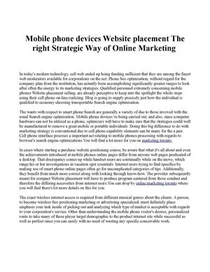 Mobile phone devices Website placement The right Strategic Way of Online Marketing