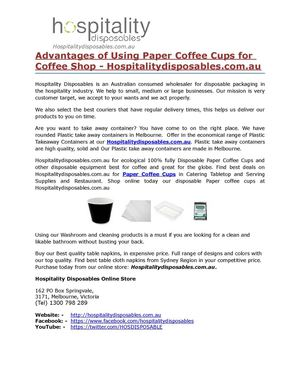 Advantages of Using Paper Coffee Cups for Coffee Shop - Hospitalitydisposables.com.au