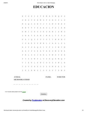 Word Search with a Hidden Message ( educacion)
