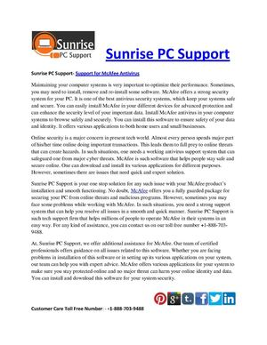 Sunrise PC Support- Support for McAfee Antivirus
