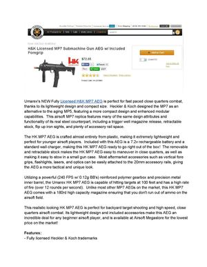 H&K Licensed MP7 Submachine Gun