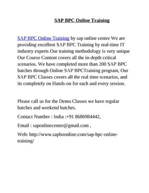 SAP BPC Online Training