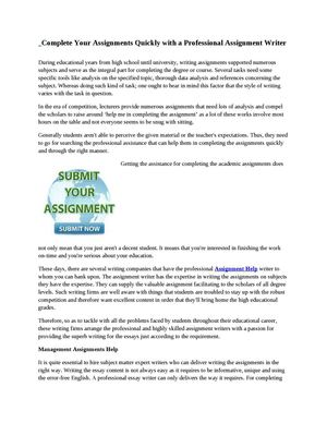 Complete Your Assignments Quickly with a Professional Assignment Writer