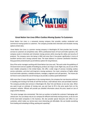 Great Nation Van Lines Offers Costless Moving Quotes To Customers