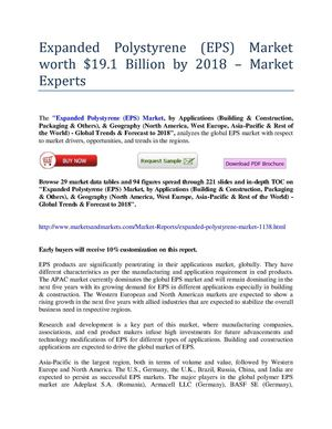 Expanded Polystyrene (EPS) Market worth $19.1 Billion by 2018 – Market Experts