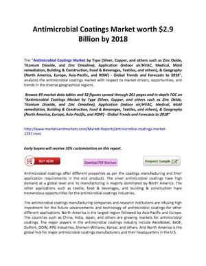 Antimicrobial Coatings Market worth $2.9 Billion by 2018