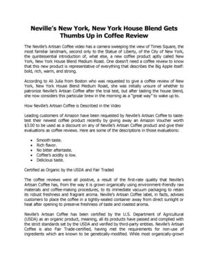 Neville's New York, New York House Blend Gets Thumbs Up in Coffee Review. California