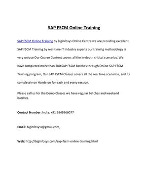 SAP FSCM Online Training by Excellent Professional Trainers