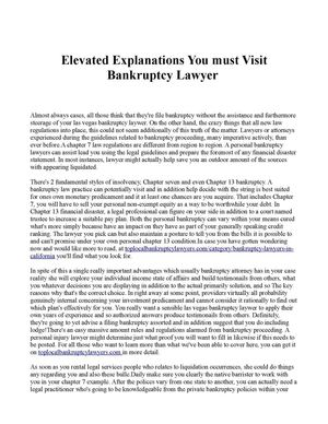 Elevated Explanations You must Visit Bankruptcy Lawyer