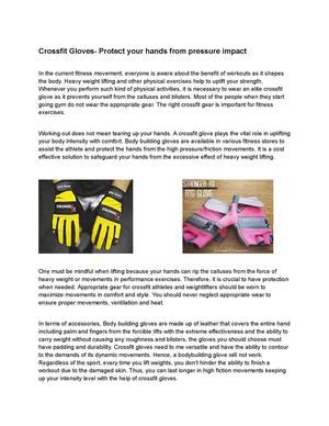 Crossfit Gloves- Protect your hands from pressure impact