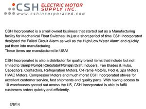 CSH Incorporated - Offering Mechanical Float Switches