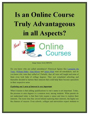 Is an Online Course Truly Advantageous in all Aspects?