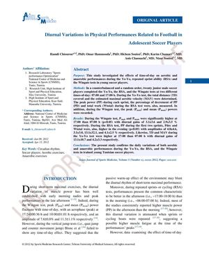 Diurnal variations in physical performances related FB soccer