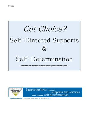 Got Choice Handbook: Self-Directed Supports & Self-Determination Services for Individuals with Developmental Disabilities