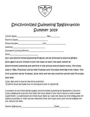 2014 Synchronized Swimming Registration