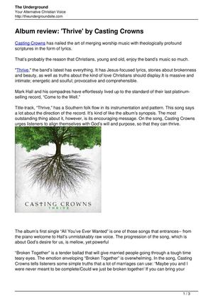 Album review Thrive by Casting Crowns