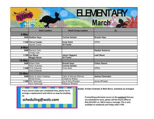 Elementary Classroom Schedule Classroom - March 2014