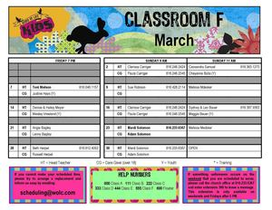 Classroom Schedule Classroom F - March 2014