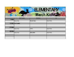 Elementary Classroom Schedule Classroom - March 2014 (Friday PM)