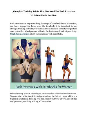 Complete Training Tricks That You Need For Back Exercises With Dumbbells For Men