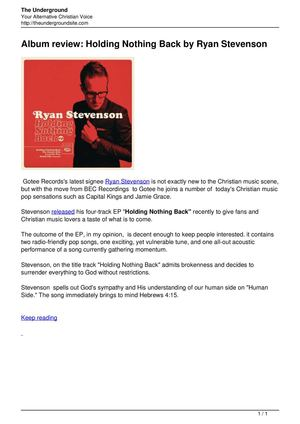Album review Holding Nothing Back by Ryan Stevenson