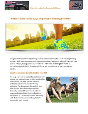 Xcited Fitness solved FAQs on personal training Brisbane