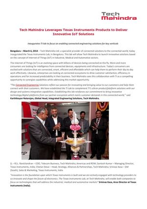 Tech Mahindra Leverages Texas Instruments Products to Deliver Innovative IoT Solutions